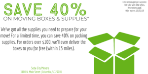 Save 40% on Moving Boxes & Supplies